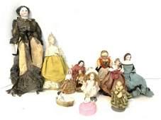 Thirteen (13) Antique Miniature Dollhouse Dolls