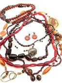 Estate Costume Amber And Agate Jewelry Group