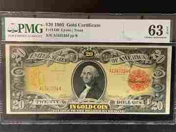 1905 $20 Gold Certificate FR#1180 63EPQ