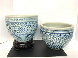 Two (2) Chinese Blue & White Bowls