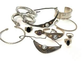 Estate Compiled Sterling Silver Jewelry Group
