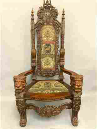 Palace Size Large Carved Wood Throne Chair
