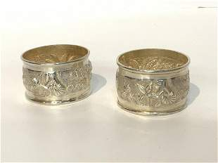 Two (2) Repousse Sterling Silver Napkin Rings