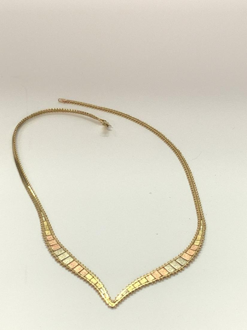 Vintage 80's 14k Gold Italian V Necklace
