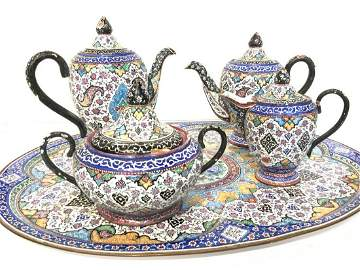 Vintage Persian Enamel Tea Set