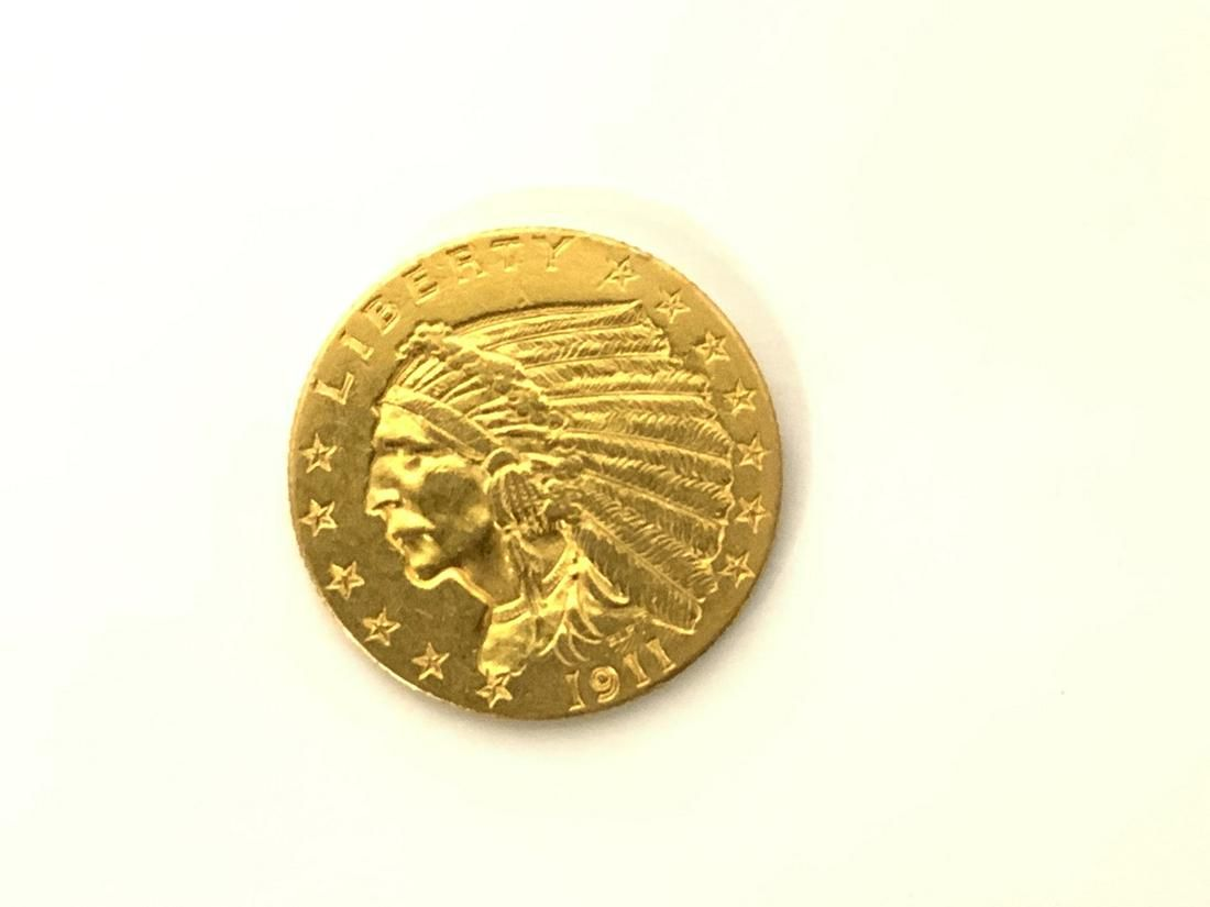 1911 $2 1/2 U.S. Indian Head Gold Coin