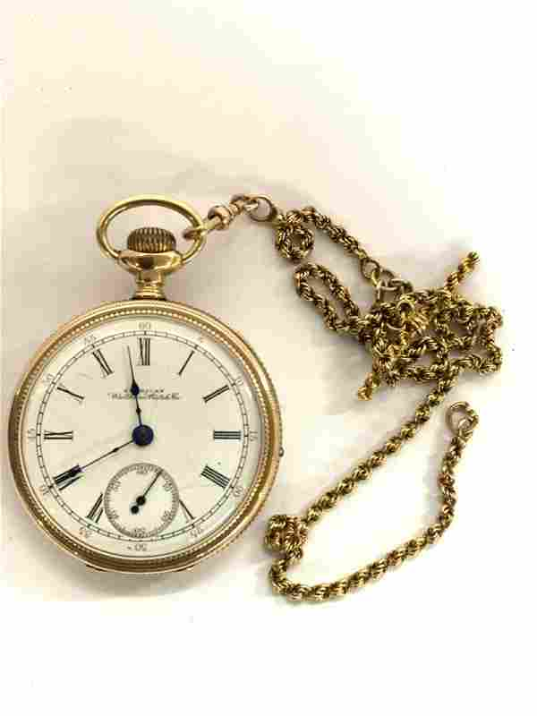 Waltham 14K Gold Pocket Watch And Chain