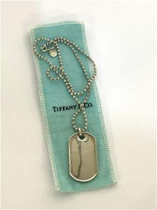 2003 Tiffany & Co. Sterling Silver Dog Tag Necklace