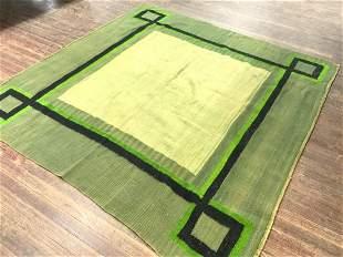 Vintage Handmade Wool Geometric Rug