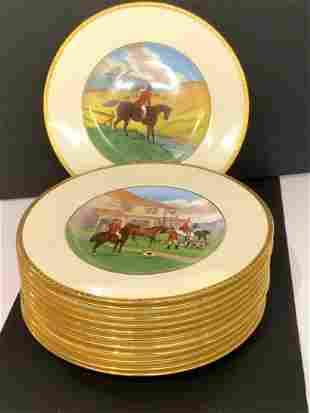 Twelve (12) Minton Fox Hunt Dinner Service Plates