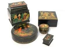 Five (5) Russian Lacquerware Boxes
