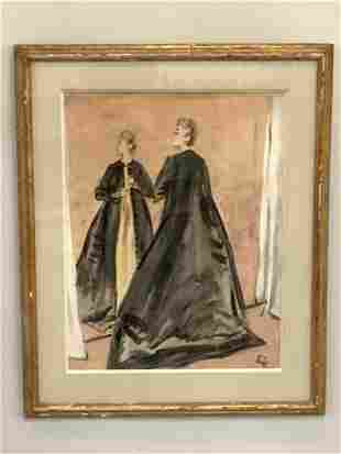 Early 20th c. Watercolor Female Figure Painting