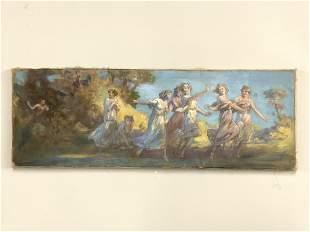 "Hungarian Oil Painting ""Dancing Nymphs"""
