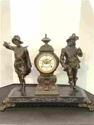 "19th c. Ansonia Mantle Clock ""Don Juan And Don Caesar"