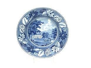 British Views Blue Staffordshire Transferware Soup