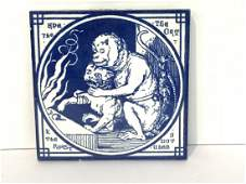 Minton China Aesop Fable Ape And The Cat Tile