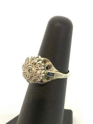 Platinum Edwardian Diamond And Blue Sapphire Ring