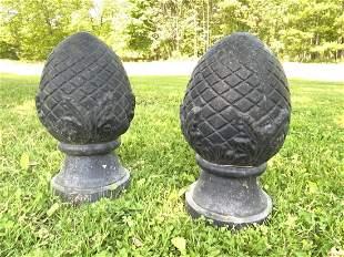 A Pair, Cast Iron Garden Finials