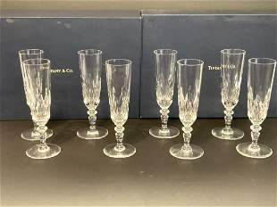 Eight (8) Baccarat For Tiffany & Co. Crystal Champagne