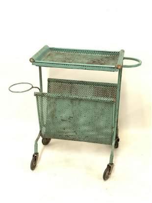 Vintage Wrought Iron Green Mesh Utility Cart