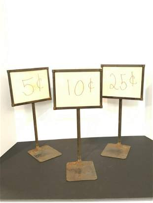 Three (3) Metal Store Display Sign Stands