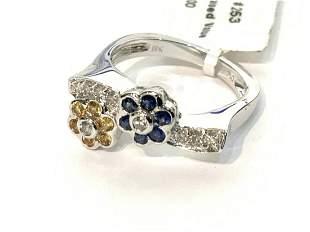 18k Diamond And Sapphire Flower Ring