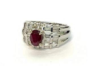 18k White Gold Ruby And Channel Set Diamond Ring