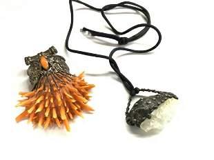 Artisan Silver Mounted Coral And Quartz Pendant