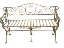 Antique Hand Wrought Iron Bench