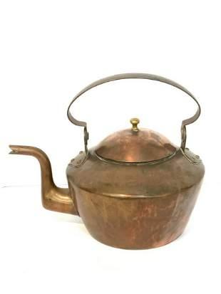 Lg. Antique Copper Tea Kettle