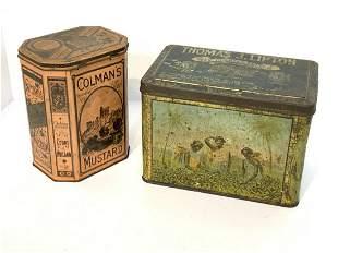 Thomas J. Lipton's And Coleman's Mustard Tins