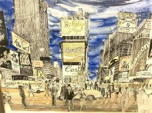 New York City Times Square Lithograph Print, Sandra