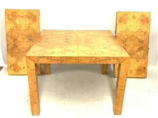 Milo Baughman Burl Wood Dining Room Table