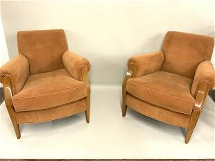 A Pair Of Mohair Upholstered Lounge Chairs