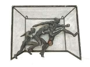 Art Deco Male Soccer Sculpture Plaque
