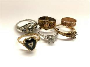 Six (6) Assorted Estate Gold Rings Lot