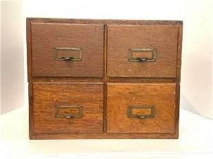 Oak Four Drawer Index File Box