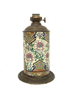 Cloisonne Decorated Oil Lamp