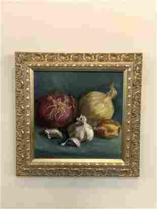 Susan Silverman Fink, Onions Still Life Oil Painting