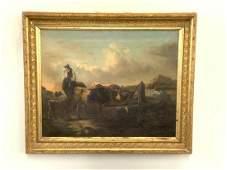 19th c. Shepherd w/ Sheep In Landscape