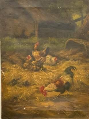 19th c. English School Oil On Canvas Barnyard Chickens