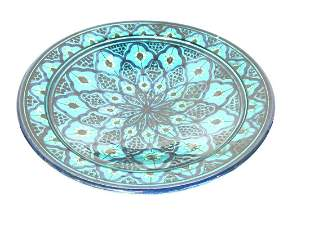 60's Turquoise Blue Pottery Console Bowl