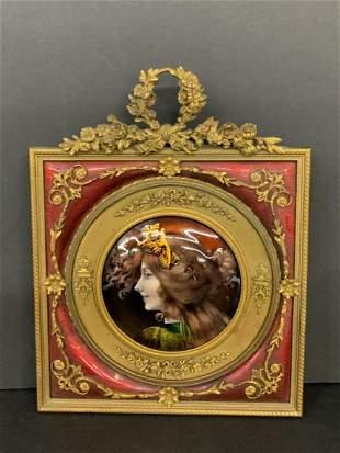 Fine Antique Austrian Bronze Enamel Female Portrait