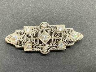 Estate 14k White Gold Diamond Brooch