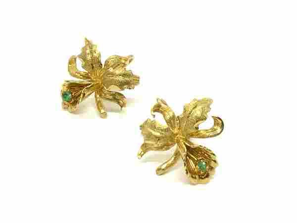18k Yellow Gold Orchid Earrings