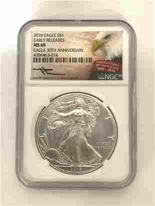 2016 MS69 American Eagle Silver Dollar 30th Anniv.