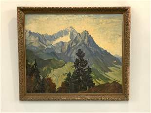 German Mountain Landscape Oil Painting Signed Illegibly
