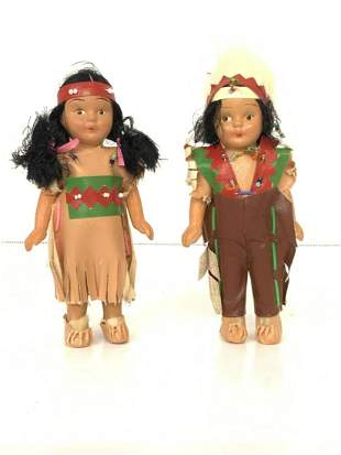 Two (2) Bisque American Indian Dolls