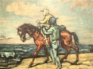 """Philip Reisman (1904-1992) """"Small Boy On A Horse"""" O/B"""