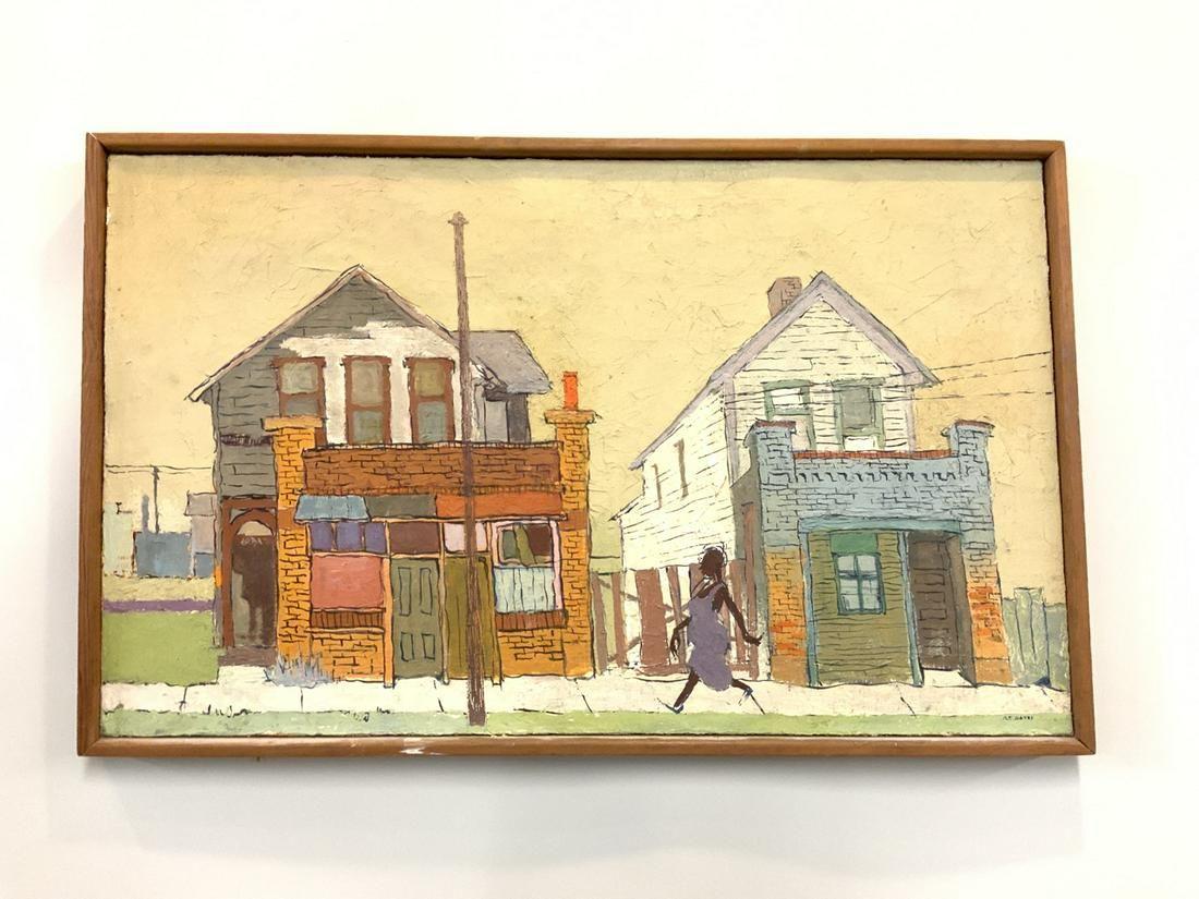 Mary E. Gates 1960's Street Block Oil Painting